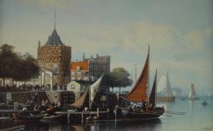 Schilderij van de haven in Amsterdam in circa 1890 met Schreierstoren en melkschuit