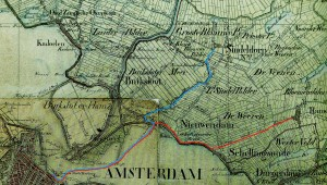 Afbeelding van topografische kaart uit circa 1850 met daarop ingetekend de vaarroute van de melkschuiten uit Zunderdorp en Ransdorp